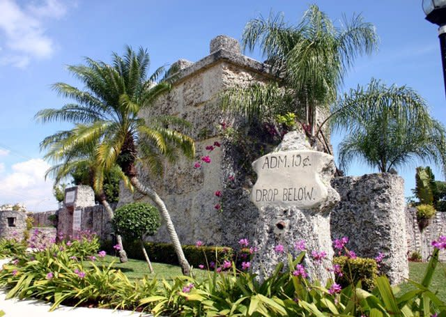 A castle made of corals at the Coral Castle museum in Homestead, FL