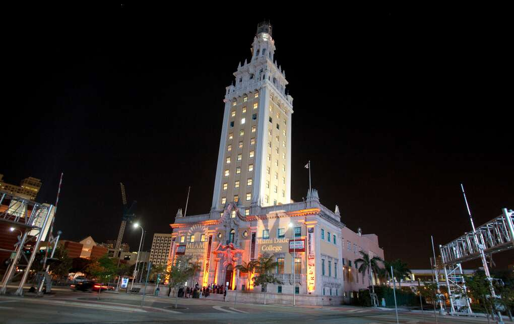 Miami College Dande Freedom Tower at night