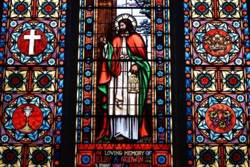 A stained glass window inside Christ Church in Pensacola