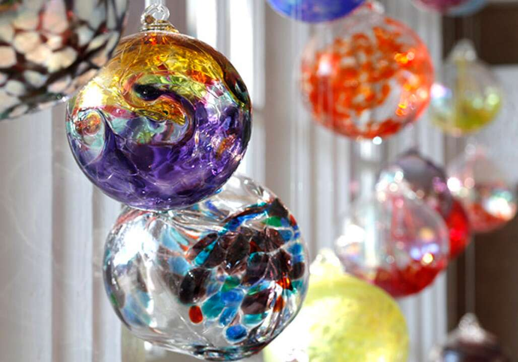 handblown glass balls at the Craftsman House Gallery in the Grand Central District