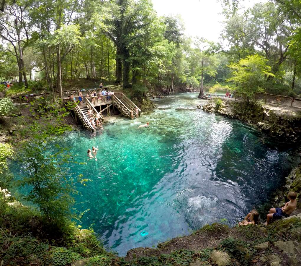 overhead view of people playing in Madison Blue Springs State Park in Lee, Fla.