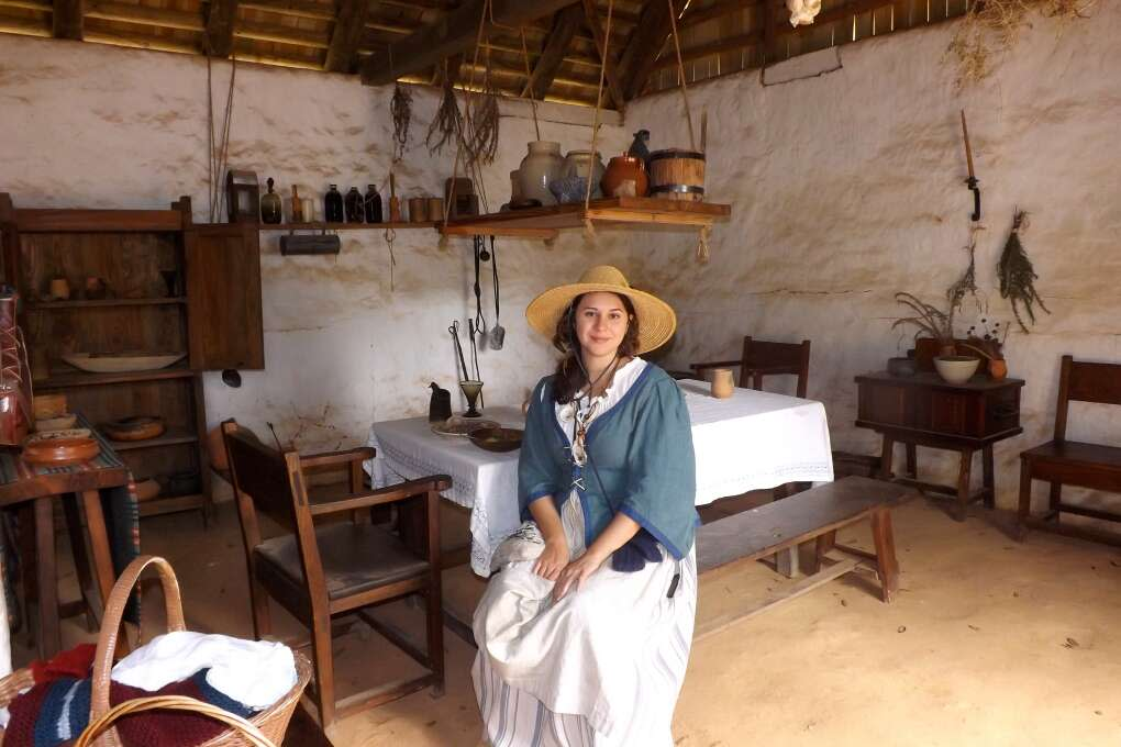 Character guide Beatrice Murray, portraying a Spanish lady, greets visitors in the reconstructed Spanish House.