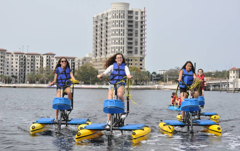 Water bikes are available for rent for ages 8 and up at Tampa Bay Water Bike Company; younger kids can ride as passengers on tandem bikes.