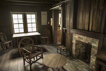 The living room with fireplace of the poet Laura Riding Jackson