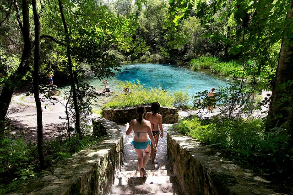 Family enjoying Forida's natural springs