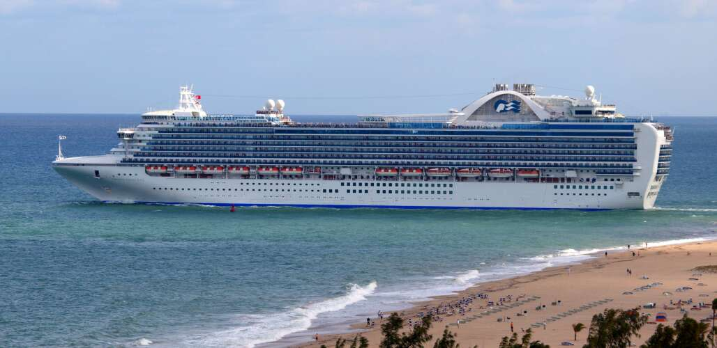 Crown Princess cruise ship leaving Fort Lauderdale