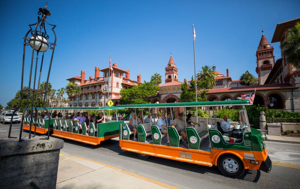 The Old Town Trolley passes the former Hotel Ponce de Leon, now Flagler College, during a tour in the Nation's oldest city.