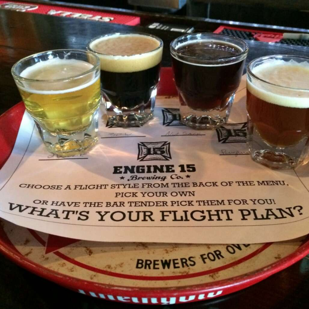 Beer flight from Engine 15 Brewing Company