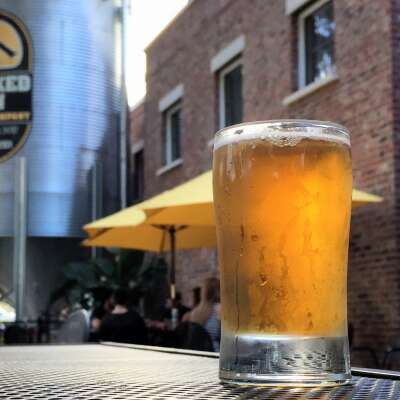 The beer garden at Crooked Can Brewing Co. in Winter Garden, Florida