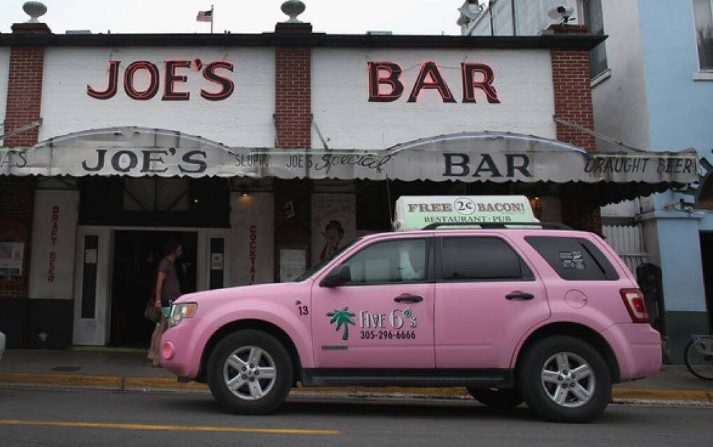 hot-pink hybrid taxi in Key West