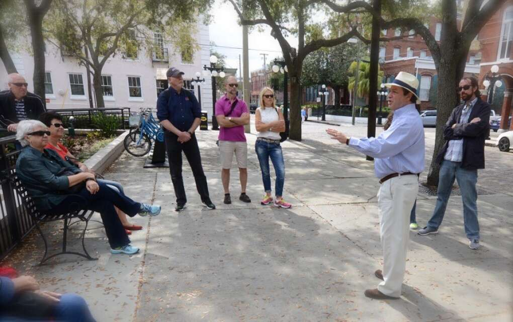 Ybor City Walking Tours guide talking to group
