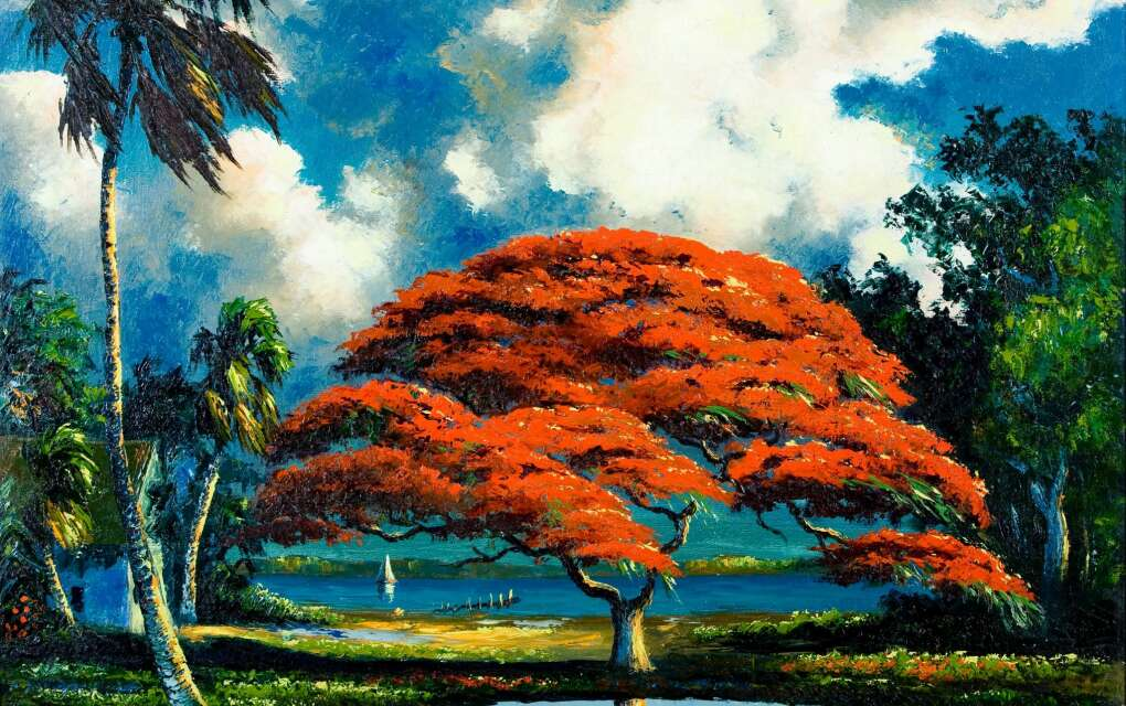 a painting of a red tree by the lake painted by one of the the Highwaymen at Backus Museum