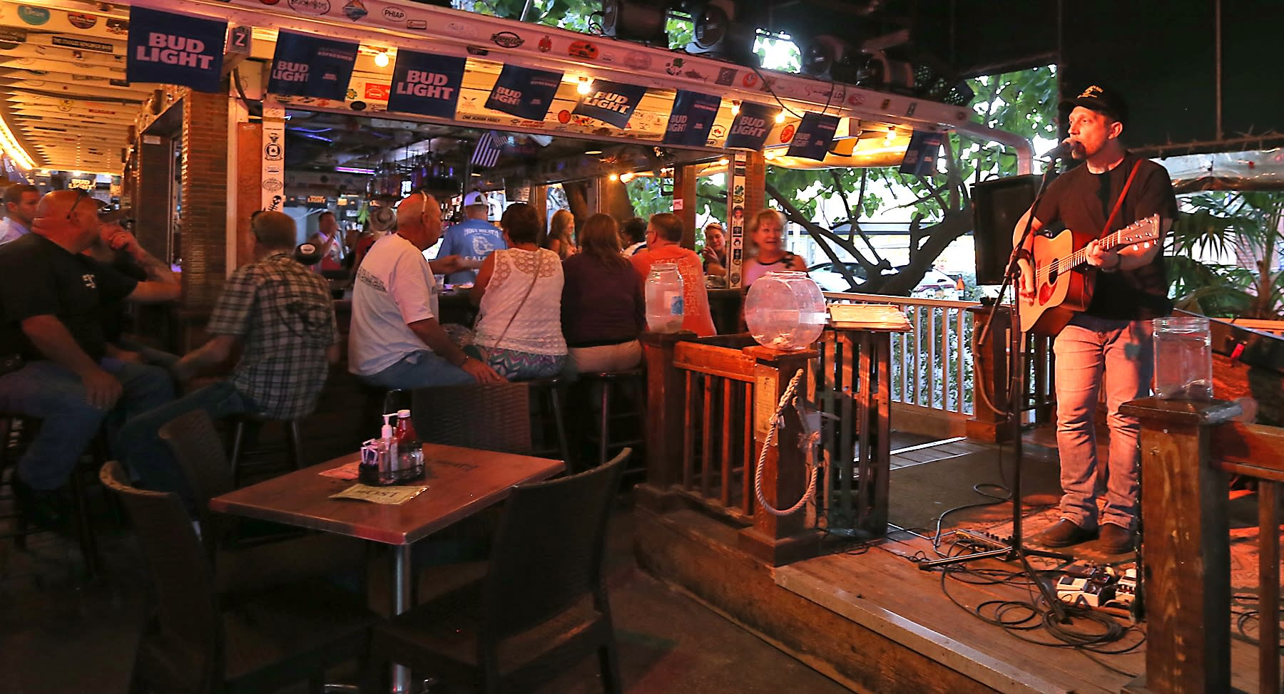 Whether you're heading to or from watching the sun dip into the sea at Mallory Square, starting a night of barhopping or looking for a spot to rest your feet,  the Hog's Breath Saloon is the perfect place to sip some beers and pleasure your ears in laid back Key West style.