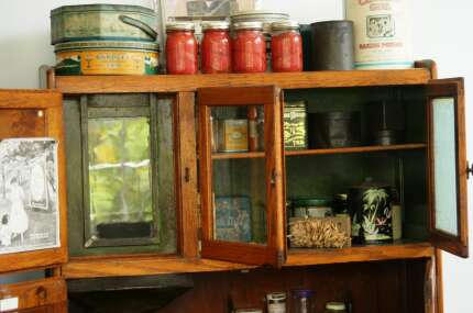 the historic Pioneer Settlement Kitchen with waffle irons to canning jars
