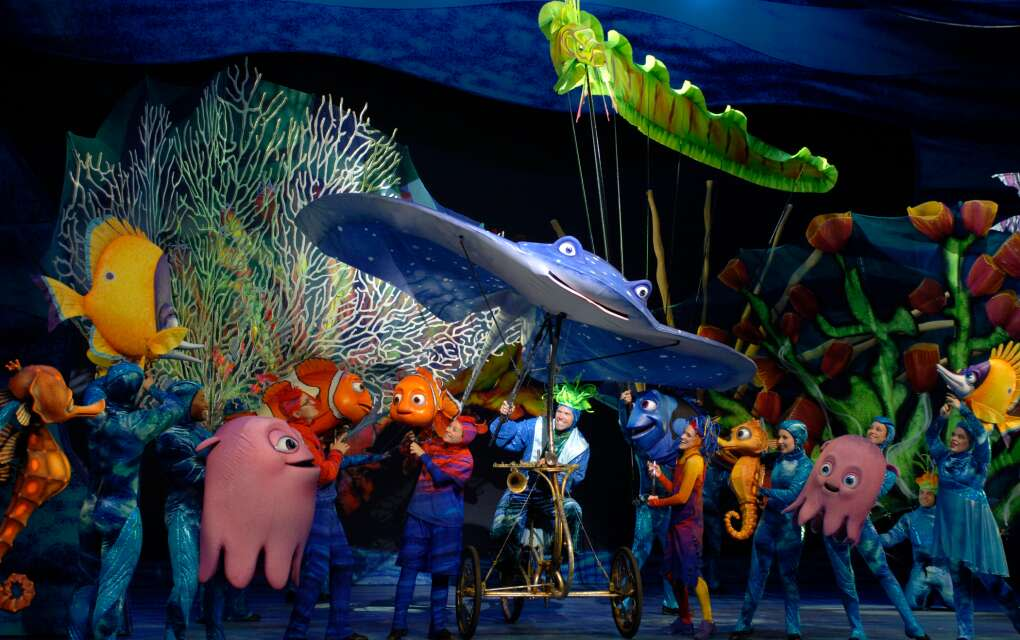 colorful animated fishes at Finding Nemo the musical
