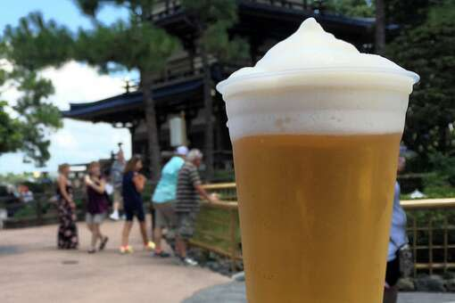 Kirin Frozen, Kirin Draft topped with an icy foam also made from Kirin, helps insulate and keep the beer cold. The beer can be found at the Japan pavilion in Epcot.