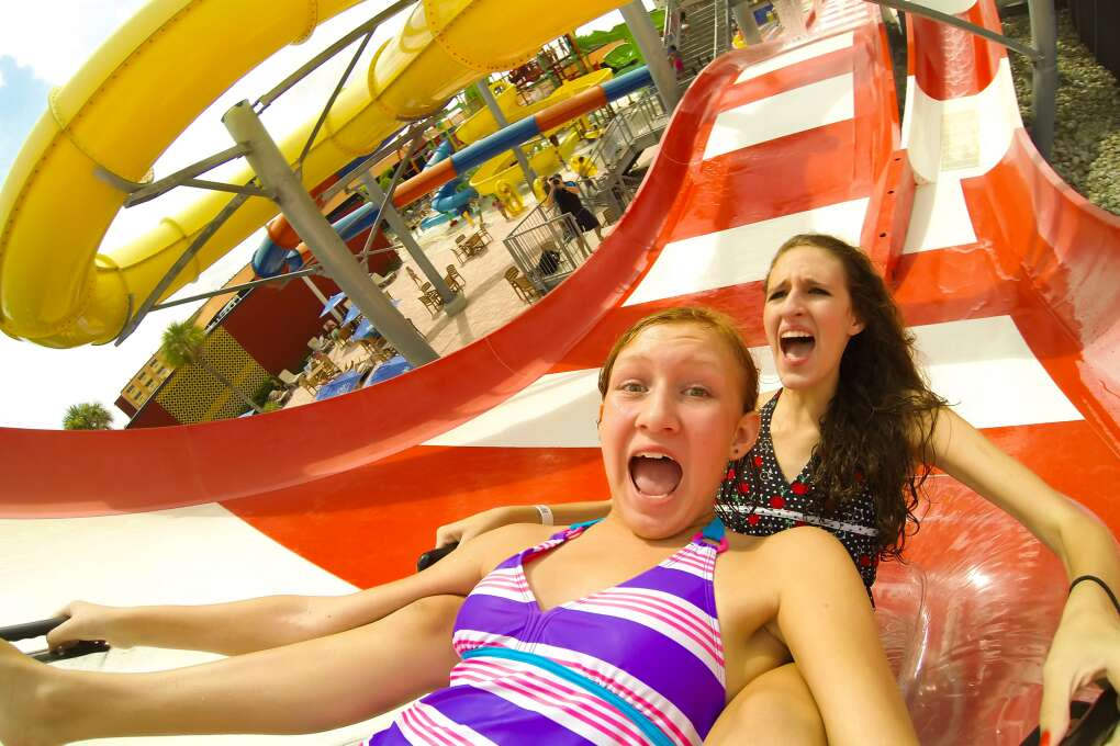 Enjoying Water slide at Miami water park