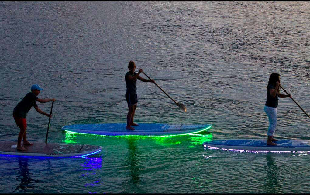 One of the attractions on Don Pedro is nighttime Stand Up Paddleboarding with boards that light up from underneath with neon colors as you paddle through the mangroves.