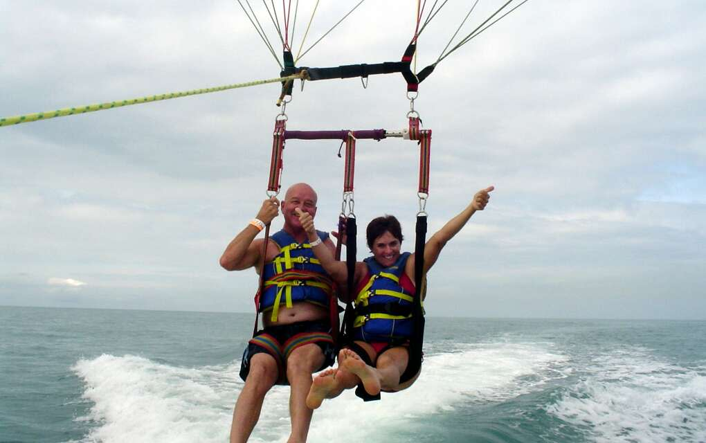 You can enjoy parasailing off of almost any Florida coast. This is my husband Paul and me rising into the air in Key West.