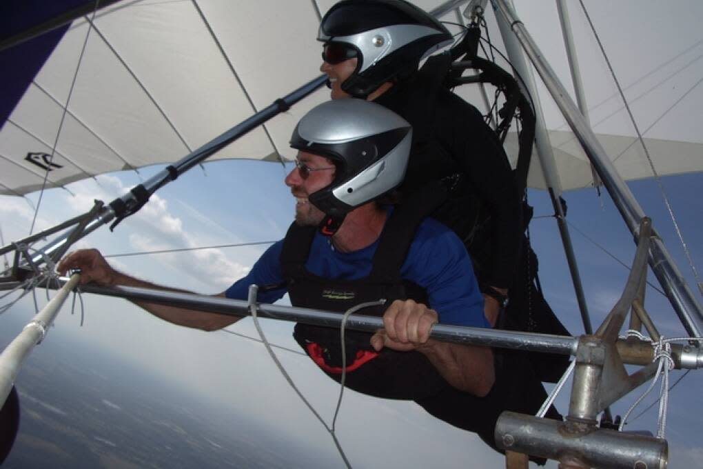 Tandem hang gliding is a once in a lifetime experience. This is me and my friend Jim over Groveland.
