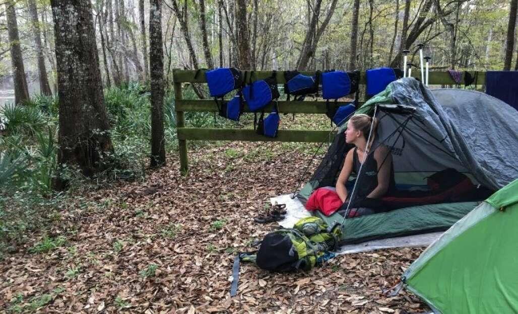 woman camping at Ginnie Springs