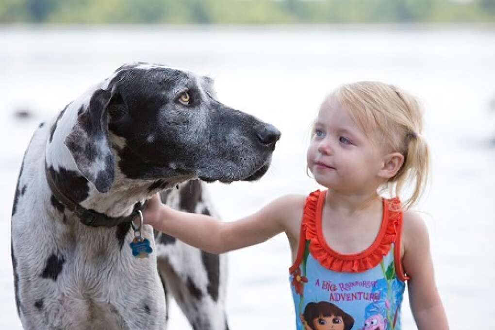 A young visitor spends time with her four-legged friend at Lake Baldwin Park.