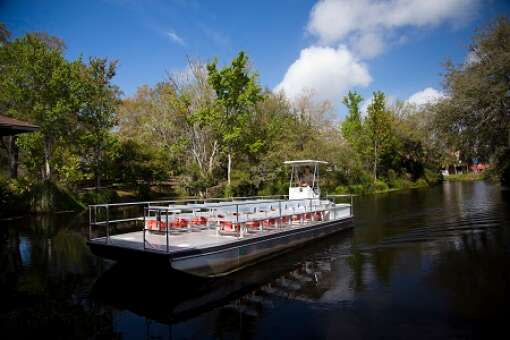 Visitors to Ellie Schiller Homosassa Springs Wildlife State Park can hop aboard a pontoon boat for a ride along Pepper Creek or take a tram to the park entrance.