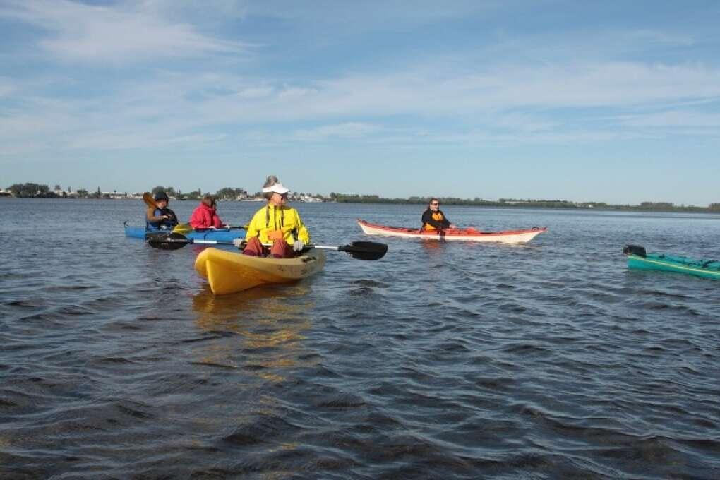 Bunch of people enjoying the Sarasota Bay waters in kayaks