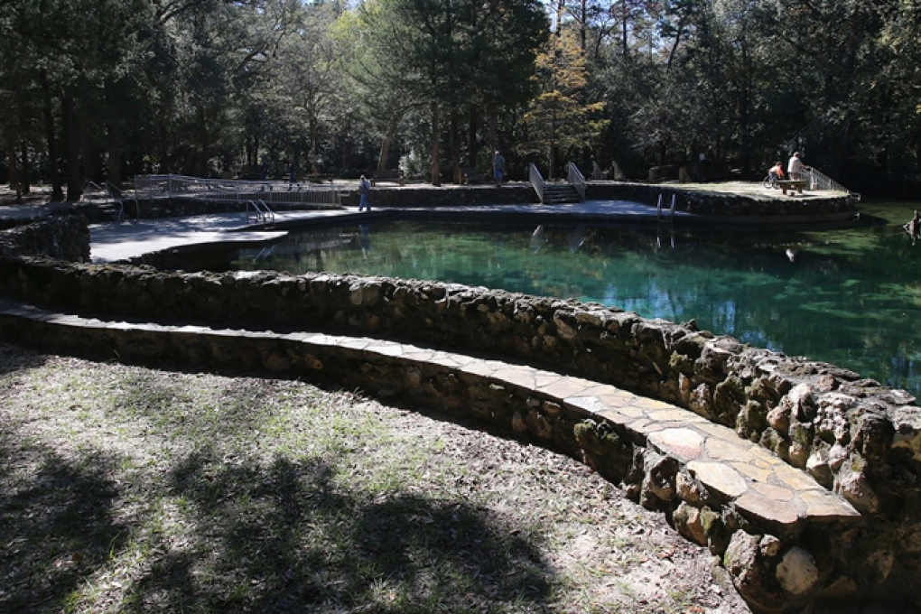 The water temperature remains a constant 68 degrees Fahrenheit year-round at Ponce de Leon Springs.