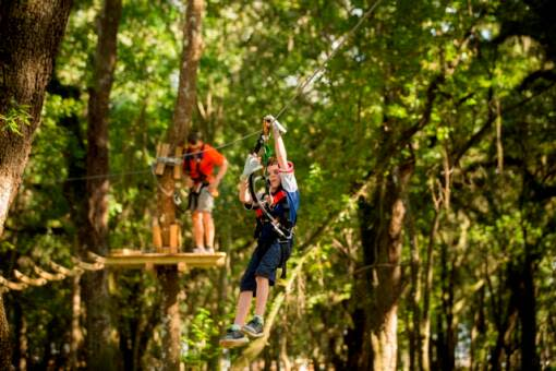Zippiness give guest a chance to fly through the forest canopy at TreeHoppers Aerial Adventure Park on September 20, 2015 in Dade City. VISIT FLORIDA/Scott Audette