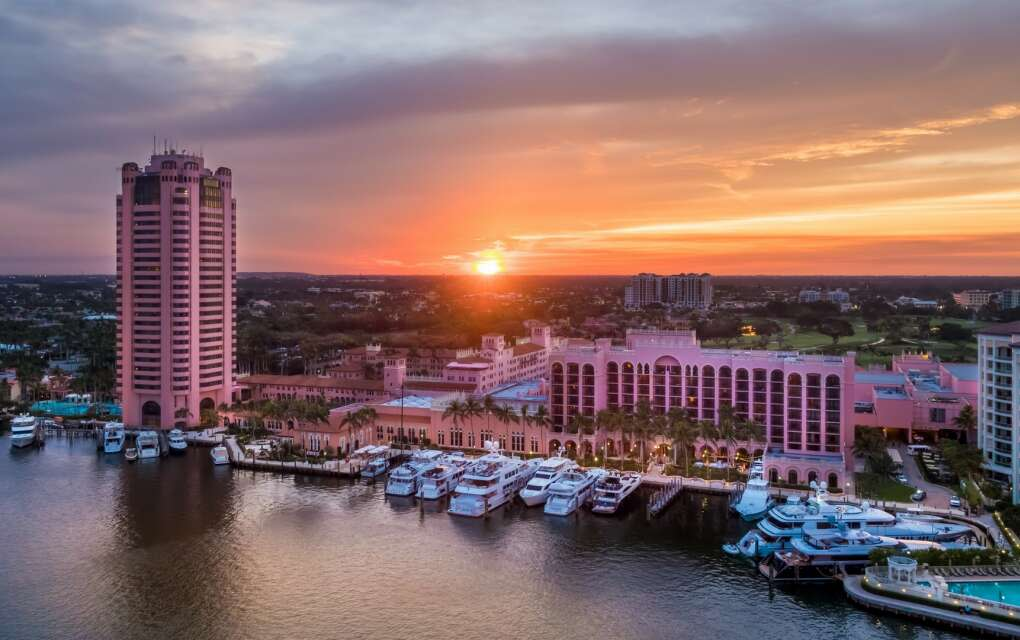 Catch an unmistakable glimpse of the iconic pink Boca Raton Resort & Club from Lake Boca