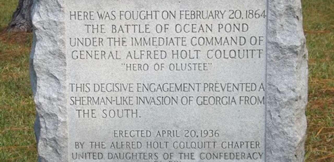 Battle of Ocean Pond historic marker