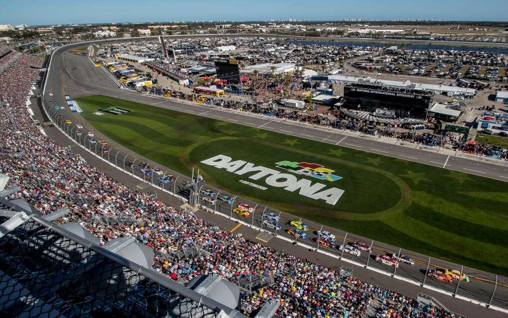 Daytona International Speedway, field and stands, ariel view