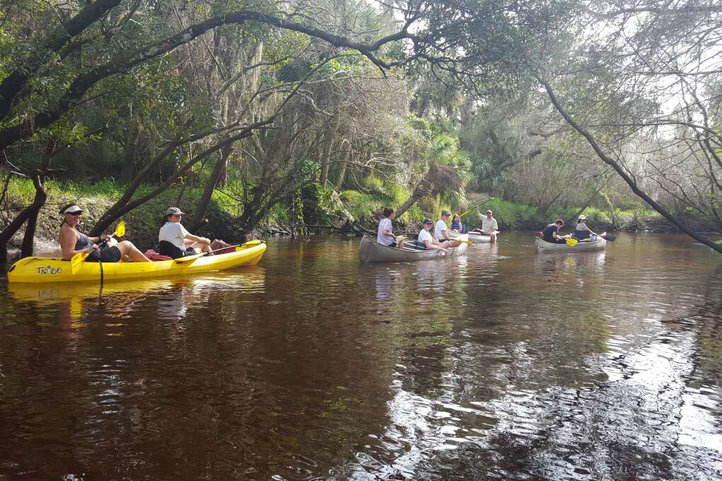 Paddling is peaceful under the tree canopies on The Little Manatee River in Wimauma.