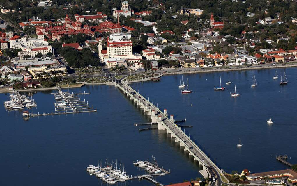 The Bridge of Lions, St. Augustine, aerial view of water and sailboats