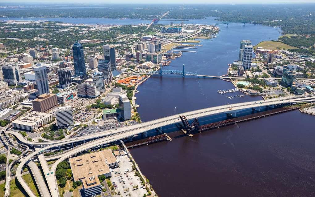 The Acosta Bridge in Jacksonville, Fla, aerial view