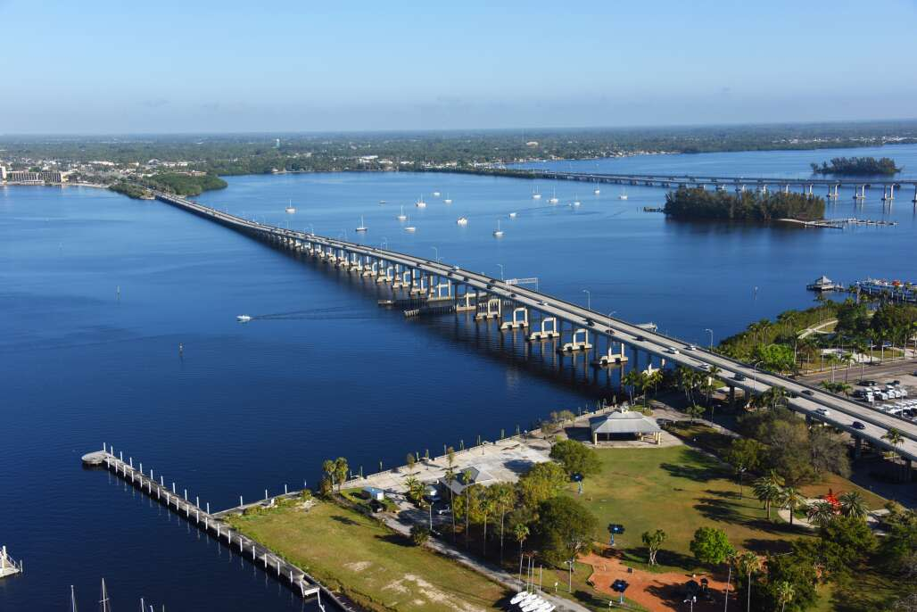 The Caloosahatchee Bridge in fort Myers, aerial view