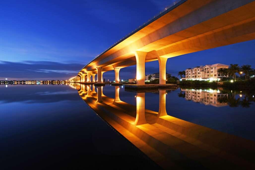 The Roosevelt Bridge in Stuart, at night, lit up beautifully
