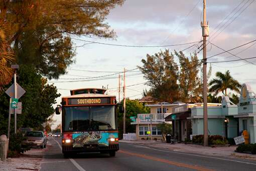 Anna Maria Island trolleys carry visitors along the Bradenton Beach Scenic Highway, a waterfront highway corridor that offers nature, scenery, and pedestrian- and bike-friendly paths.