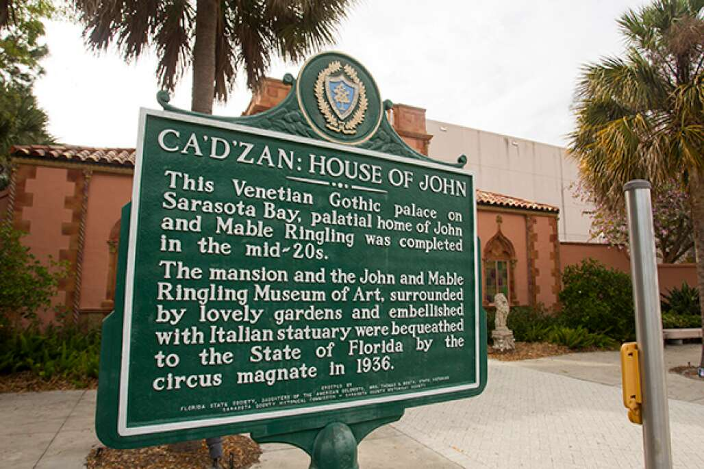 John and Mable Ringling bought 20 acres in Sarasota and built a museum that now has a mansion and 21 galleries of international pieces along the Windows to the Gulf Waters Scenic Highway.