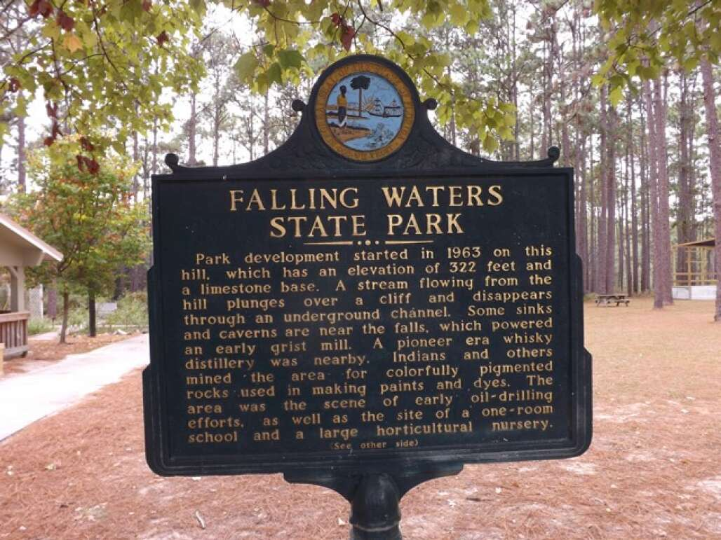 The Falling Waters State Park welcome and information board