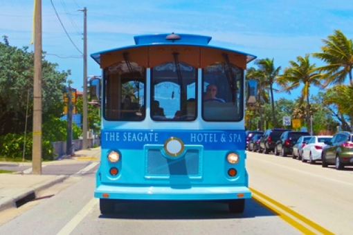 Hop on the trolley courtesy of The Seagate Hotel & Spa in Delray Beach.