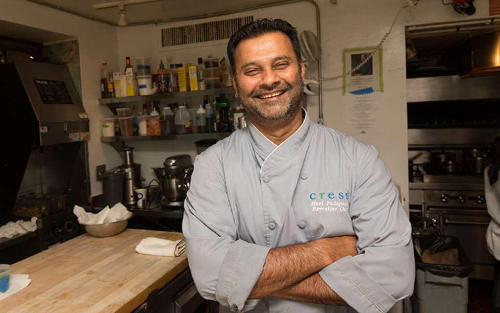 Chef Hari Palapaka in the kitchen of Cress