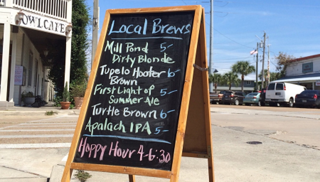 Sign outside of Oyster City Brewing Company