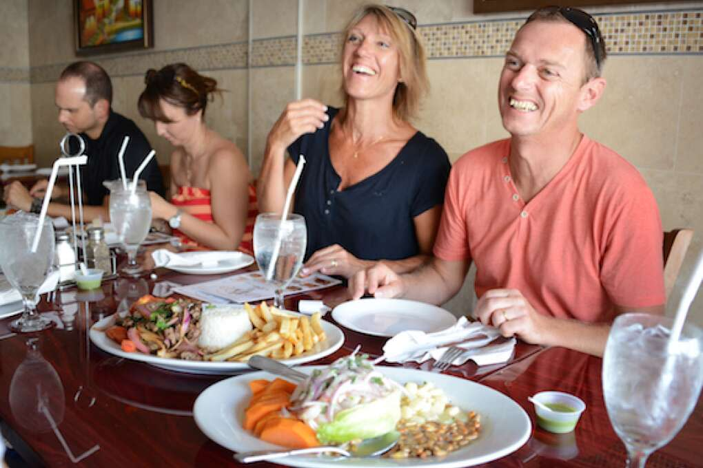 Laurent and Pascole LeFebvre of Lyons, France, enjoy a meal at  Chala'n On The Beach.