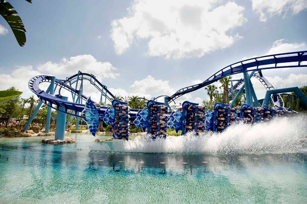 Manta at SeaWorld Orlando lets riders find out what it's like to spin, glide, skim and fly like a giant ray on the only flying roller coaster of its kind in the world.