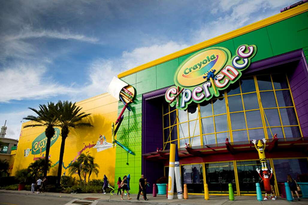 Guests enter the 70,000-square-foot Crayola Experience where the world is full of crayons at The Florida Mall in Orlando.