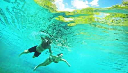Charlie and Dorothee Walters, of South Carolina, swim in the head waters of Ichetucknee Springs