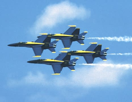 It's a bird... It's a plane... It's the Blue Angels practicing over the National Aviation Museum!