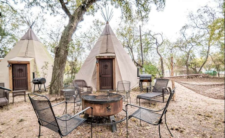 Traditional tipis, modern interiors: 2 hours and 49 minutes from Houston. Photo: GlampingHub.com